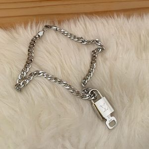 Louis Vuitton silver lock necklace